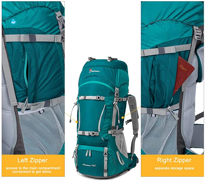Left and Right Zippers of Mountain top Hiking Backpack