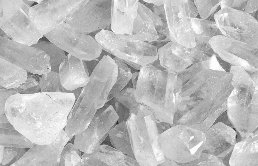 Many quartz crystals